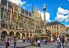 Heart of Munich (werner boehm *) Tags: wernerboehm marienplatz munich architecture mariensäule neuesrathaus clouds