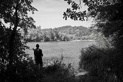 Sanok Manasterzec View of the San with Fisherman IMG_2702 bw (david.neville2776) Tags: manasterzec podkarpackie river san castle sobień zamek ruiny ruins fisherman bw track trees