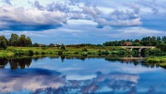 Reflections (Alexx053) Tags: russia reflection outdoor skyline clouds grass tree landscape panorama