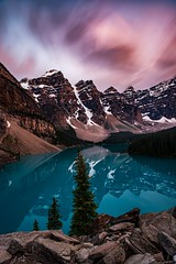 Long Exposure at Moraine Lake / This is probably my fondest memory from my trip the Canadian Rockies. We sat there here for hours in awe. Even with the crowds, it was easy to find a nice quiet place to soak in the view. (zmfdrbfw68) Tags: longexposure travel lake canada mountains color beautiful clouds landscape outdoors nikon alberta d750 banff rockymountains epic moraine nationalgeographic canadianrockies natgeo 2470mm ndfilter 2470 nd10 sunset bw f28 f28e glacier