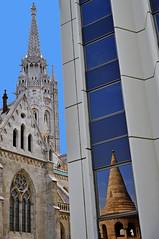 St. Stephan and Bastion (t.horak) Tags: tower spire budapest church reflection blue gothic architecture tall height