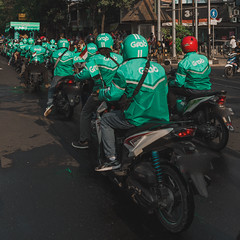 Stanger People in Green but Serve You Well. (yanuarpotret) Tags: transportation ojek grab green carnaval senja motorbike traffic online modern