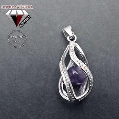 Pendentif cage tourbillon en argent 925 et perle améthyste (olivier_victoria) Tags: argent 925 pendentif zircon améthyste chaine cage tourbillon