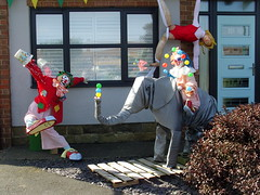 Clowning About! (Glass Horse 2017) Tags: scarecrow scarecrowfestival circusskills eastcleveland easington dayatthecircus elephant action juggling clowns trapezeartiste reflection windowwednesday