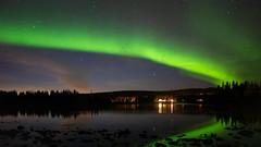 Aurora Borealis in Laxforsen (bholmbom81) Tags: auroraborealis green laxforsen lightings nature phenomen river rocks space stars trees