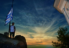 this is Greece (Love me tender ♪¸.•*´¨´¨*•.♪¸.•*´) Tags: greece rocks flags silhouettes boy highkey lookup lookaway sunset poros island saronic dimitrakirgiannaki photography flickr nikond3100