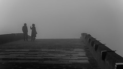 on the bridge across forever / silent witnesses (Özgür Gürgey) Tags: 169 2018 70300mm bw büyükçekmece d750 nikon architecture birds bridge fog people repetition silhouettes street istanbul