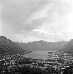Laura's first shot  (Acros Neopan 100) (Harald Philipp) Tags: montenegro kotor film analog monochrome rolleiflex tlr schneider xenar 75mm 120 mediumformat acros iso100 neopan fujifilm d76 homedeveloped selfdeveloped coolscan nikoncoolscan cruiseship fiord fjord adriaticsea