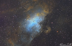M16 - The Eagle Nebula in SHO Narrowband (Simon Todd Astrophotography) Tags: m16 eagle nebula pillarsofcreation ngc6611 canismajor narrowband sho qhy183m qhyccd starlightxpress lodestarx2 deepsky deepspace space astrophotography astronomy ukastronomy hubblepalette eq8pro skywatcher primalucelabs sestosenso pegasusastro quattro asa reducer longexposure coldmos astrometrydotnet:id=nova3614716 astrometrydotnet:status=solved