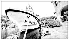 Fishing Port (endresárvári) Tags: mallorca canon island balear balearislands ship boat fishingboat port harbor haven fishingnet net nets calafiguera summer trip holiday sea travel cordage bw monochrome spanish spain