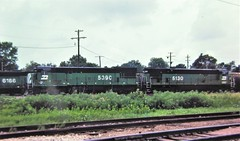 Burlington Northern U30C and C30-7 locomotives at Council Bluffs in 1983 0667 (Tangled Bank) Tags: old classic heritage vintage history historical train railway railroad north american 20th century equipment burlington northern u30c c307 locomotives council bluffs 1983 0667