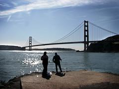 Dos Pescadores (skipmoore) Tags: goldengatebridge fortbaker fishermen silhouette