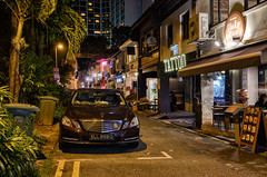 Bali Lane Night II (henriksundholm.com) Tags: street city night car mercedes restaurant tattoo shops stores advertisement signs citylife urban kampongglam singapore hdr southeast asia