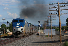 Departing Raton (GLC 392) Tags: amtk amtrak raton sub subdivision nm new mexico ge p42dc train passenger railway railroad 20 53 4 code line sierra hotel southwest south west chief search light lights smoke