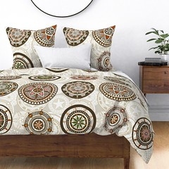 kazuki large wyandotte duvet (Scrummy Things) Tags: scrummy kazuki mandala pattern collection illustration drawing star flower sharonturner wyandotte bed duvet challenge natural neutral neutralbedding largescale
