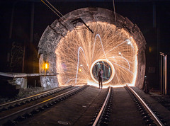 Tunnel Spinning (nocturnal.visions) Tags: woolspin woolspinning underground exploring canon photography wool spin live rail railways firephotography fire explore everything tunnels trespassing train tracks trains traintunnels tunnel sydney urban explorer insane pov photos australia dark hiking lightpainting low light lone wolf brick night