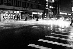 downpour at night (avawoodworth) Tags: bw blackandwhite blackwhite monochrome mono rain formosa june 2019 water city traffic