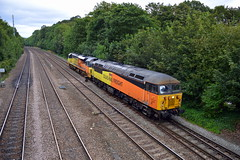 Colas Rail 56302 & 70803 are seen approaching Chesterfield with the 0Z56 Barnetby Sidings to Canton Sidings, 28th Aug 2019. (Dave Wragg) Tags: 56302 class56 grid 70803 class70 colasrail 0z56 chesterfield loco locomotive railway
