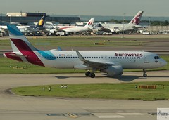 Eurowings A320-214 D-AEWQ taxiing at LHR/EGLL (AviationEagle32) Tags: london londonheathrow londonheathrowairport heathrow hea heathrowairport lhr egll terminal terminal2 airport unitedkingdom uk aa aircraft airplanes apron aviation aeroplanes avp aviationphotography avgeek aviationlovers aviationgeek aeroplane airplane planespotting planes plane flying flickraviation flight vehicle tarmac eurowings lufthansagroup airbus airbus320 a320 a320200 a322 a320214 daewq