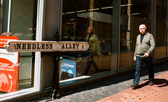 Need Less but surely not Point Less? (Bone Setter) Tags: streetphotography birmingham needlessalley street candid man alley film kodak portra400 olympus om1n