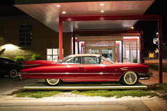 '59 Cadillac (Curtis Gregory Perry) Tags: greenbay exposure museum wisconsin cadillac 1959 eldorado coupe hardtop auto automobile classic vintage old nikon d810 night longexposure gallery red fins tailfins tail coupedeville deville