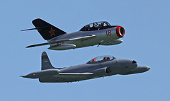 Shooting Stars (crusader752) Tags: norwegianairforce historicalsquadron mig15uti n104cj red18 licenced polishbuilt pzlmielec sblim2 soviet cosmonaut yurigagarin lockheed t33a ct133 silverstar3 canadian licencebuilt american t33 shootingstar exrcaf 133599 nx865sa lndps airbourne 2019 eastbourne seafront airshow