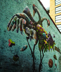 A Bird in the Hand (Steve Taylor (Photography)) Tags: hand bird graffiti mural streetart blue colourful uk gb england greatbritain unitedkingdom london perspective
