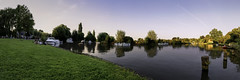 Time blending panorama Sint Martens Latem (In Flanders Fields Photography) Tags: panorama time blending landscape people summer river boats sunny evening colors sunlight high resolution trees nature scenic view