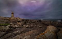 Muxía. (RikiAguilar) Tags: faro cielo lighthouse nubes clouds cloudy rain sea stones piedras sunrise magic wonderful longexposure rollei nikon tamron