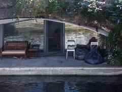 The Canal Living  Room (Steve Taylor (Photography)) Tags: canal beanbags architecture chair door bench table window glass water uk gb england greatbritain unitedkingdom london reflection
