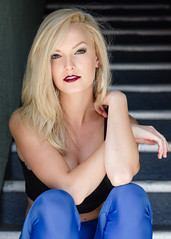 Photo of the Day - Anna (SDG-Pictures) Tags: anna photooftheday blonde lipstick black edgy makeup stairs beauty beautiful annaricks portrait notalonephotos