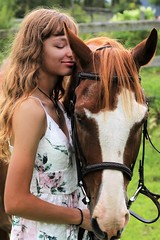 Beholding Intimacy (Scott RS) Tags: horse woman young beauty hair brown intimate love close pretty bond tender delicate touch