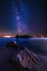 Axes of Time (Brady Baker) Tags: astrophotography milky way galaxy stars core galactic rock boulder beach water lake ontario island christian georgian bay outdoor night landscape calm serene majestic blue canada nature alignment