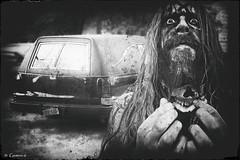 Zombie Ride (* Gemini-6 * (on&off)) Tags: blackandwhite monochrome vintage grunge hearse buick auto transportation vehicle zombie composite vignette tattoo