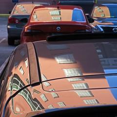 rear window (Jim_ATL) Tags: pink atlanta reflection window car facade automobile explored