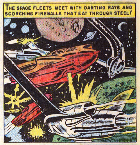 The space fleets meet with darting rays and scorching fireballs that eat through steel!