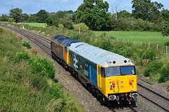 "50033 & 50007 Ladywood Worcs { 0Z50 0934 Eastleigh Works Gbrf ~ Kidderminster SVR  } 290819 S Widdowson (1) (50008""thunderer"") Tags: 50033 glorious class 50 repaint br large logo"