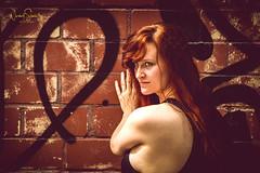 Caution: Red poison! (nigel_xf) Tags: model tfp shooting portrait monochrome red rot rothaarig tfpshooting erotik erotic sexy woman frau personallity vsfototeam nikon d850 nigel nigelxf graffiti