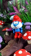 Papa Smurf (custombase) Tags: smurfs papa smurf toadstools mushrooms woods toyphotography