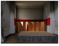 ] O R A N G E [ (michelle@c) Tags: wood light shadow orange church wall architecture interior space side screen podium decor 2019 notredamedutravail parisxiv ©michellecourteau 1900 stencil paint