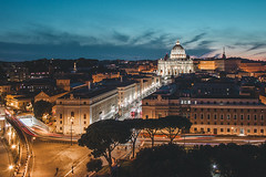 Vatican City (NicolaTumino) Tags: roma rome italia italy vatican vaticano san pietro basilica chiesa church nightscape long exposure sundown night photography santa sede castel santangelo