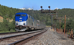 The Chicken (GLC 392) Tags: gallinas creek co colorado amtrak amtk train 3 southwest chief passenger railway railroad search light signal signals ge p42dc 86 161 mountain hills sky code line raton the chicken