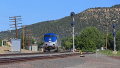 Arriving Raton (GLC 392) Tags: amtrak amtk train 3 southwest chief passenger railway railroad search light signal signals ge p42dc 86 161 mountain hills sky code line raton