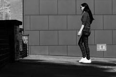 Street (lightersideofdark) Tags: streetphotography street blackwhite dark outside outdoors shadows signs lone single brick block blockwall brickwalls brickwall blocks blockwalls shadow sign one