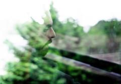 Bus Window Reflection (B Hutchison) Tags: xt1 fuji fujifilm xf35mm green trees leaves bushes reflections buswindow window face profile