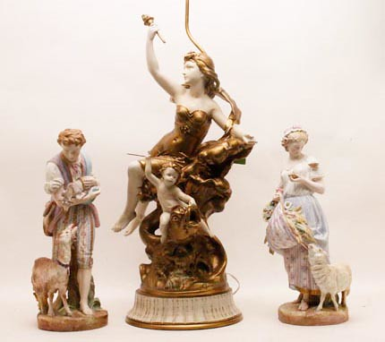 Pair of German Porcelain Statues ($235.20) Left and Right