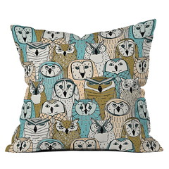 owls limited gold blue DENY throw pillow (Scrummy Things) Tags: sharonturner denydesigns home decor cushion throwpillow illustration gold blue owls owl bird