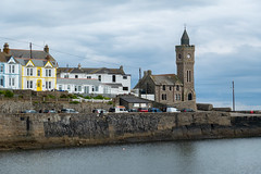 Porthleven Town Council (Jocey K) Tags: triptoukanderoupe2019 june england uk cornwall lizardpeninsula porthleven clocktower seaside sea hills water clouds sky houses wall cove harbour buildings porthleventowncouncilbuilding