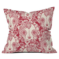 cat skull damask red DENY throw pillow (Scrummy Things) Tags: sharonturner denydesigns home decor cushion throwpillow illustration skull cat catskull snake floral gothic red halloween spooky