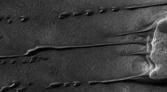 Linear Sand Dunes on Mars (sjrankin) Tags: 30august2019 edited nasa mars marsreconnaissanceorbiter grayscale psp0076761385 sanddunes mesas eroding hellespontusregion 1935mb large
